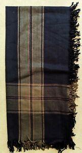 Vintage but NEW Bloomingdale's Throw Blanket Wool Nylon Black and Tan