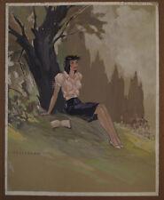 AQUARELLE  FEMME SOUS UN ARBRE D MOULTANEN 1941