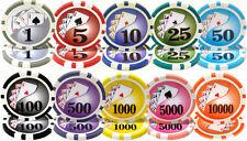 NEW 500 PIECE Yin Yang 13.5 Gram Clay Poker Chips Bulk Lot Select Denominations