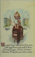 C. 1910 Kewpie, Cherub on Mailbox Vintage Postcard P49