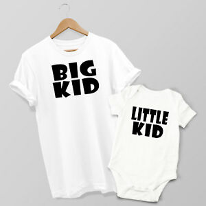 Big Kid & Little Kid - Mum & Son or Daughter Matching T-shirt & Baby Grow Set