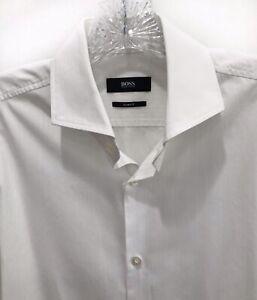 BOSS HUGO BOSS Slim Fit White on White Men's Button Down Dress Shirt 15 32/33