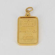 5 Grams Credit Suisse Gold Bar Ingot with 14K Removable Pendant Frame 999,9
