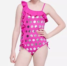 Justice Girls Size 14 Pink & Silver Foil Polka Dot Ruffle One-Piece Swimsuit NEW