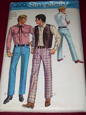 1969 SIMPLICITY #8300 - MEN'S WESTERN RODEO STYLE JEANS-SHIRT & VEST PATTERN  40