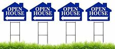 """Large (18""""x24"""") Open House - Blue House Shaped Sign Kit with Stands - 4 Pack"""