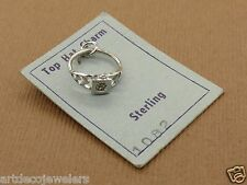 Vintage silver MINIATURE FILIGREE ENGAGEMENT RING ON DISPLAY CARD charm WELLS