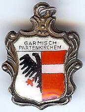 LARGE GARMISH PARTENKIRCHEN GERMANY VINTAGE 800 SILVER ENAMEL SHIELD CHARM