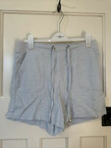 Women's Peacocks High Waisted Linen Blend Powder Blue Utility Shorts Size 14