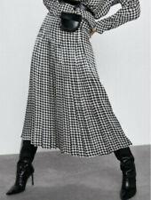 Zara Box Pleat Skirt Houndstooth Print Small BNWT Ref: 7275/100