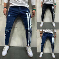 Men's Skinny Ripped Jeans Biker Casual Frayed Stretchy Denim Slim Fit Trousers