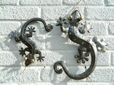 Gecko Wall Art Ornament - Metal Geckos Lizard Wall Hanging - Silver Set of 2