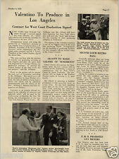 1924 PAPER AD Rudolph Valentino To Produce In LA Boxer Jim Corbett MGM Article
