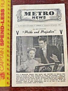 VINTAGE 1941 METRO THEATRE MOVIE HERALD PRIDE & PREJUDICE GREER GARSON OLIVIER +