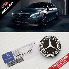 Mercedes OEM Black Hood Flat Laurel Wreath Badge Logo Emblem Upgrade AMG Style