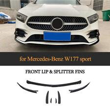 7PCS Front Bumper Lip Spoiler With Fins Splitter For Benz W177 A220 Sport 2019