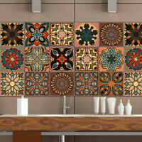 20Pcs 3D Moroccan Self-adhesive Bathroom Kitchen Wall Stair Tile Sticker Vintage