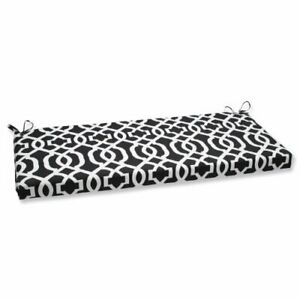 """Pillow Perfect Outdoor/Indoor New Geo Bench/Swing Cushion 45"""" x 18"""" Black/White"""