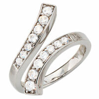 Ring Damenring mit 14 Zirkonia, 925 Silber rhodiniert, Fingerschmuck, Silberring