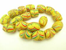 18 pcs matched authentic Venetian feathered glass trade beads old Africa AC-0095