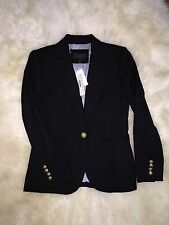 $198 J.CREW Campbell Blazer in wool flannel 2 Petite black e3338 suiting preppy