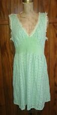Anthropologie Mint Green Vintage Style Dress Big Eyelet Cotton Corset Waist Sz L