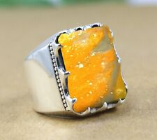 Solid 925 Sterling Silver Bumble Bee Jasper Gemstone Wedding Mens Ring