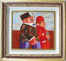 Franz BORGHESE (Roma 1941-2005) Borghese e signora OLIO su TELA 40x45 anno 1998