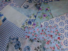 """100 X 4"""" Blue Collection Poly Cotton Fabric Patchwork Squares Craft Quilting"""