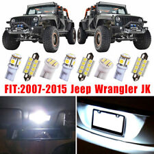 Fits 2007-2015 Jeep Wrangler JK WHITE LED Interior Light Package Kit 11 Bulbs