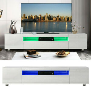 """78.7"""" TV Stand Cabinet High Gloss RGB LED Light Entertainment Center Console US"""