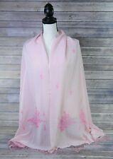 Kashmiri Hand Embroidered Beaded Pink Shawl Scarf Silk Cashmere Blend 27 x 78
