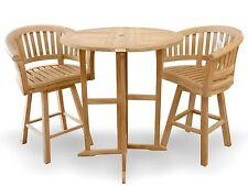"Windsor's Genuine Grade A Teak 39"" Bar Round Dropleaf Table &2 Swivel Bar Chairs"