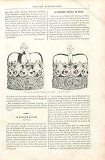 Couronne de Mariage Nuptiale Or Ciselé en Russie GRAVURE ANTIQUE OLD PRINT 1894