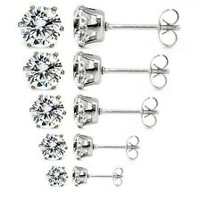 5 Pairs Assorted Sizes Wholesale Lot Stainless Steel Cubic Zirconia Stud Earring