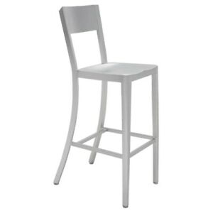 """17"""" W Set of 2 Bar Stool Silver Aluminum Modern Gently Curved Back Legs"""