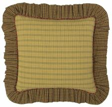 """Tea Cabin Country Ruffled Throw Pillow Green Plaid Red Trim 16"""" Square Filled"""