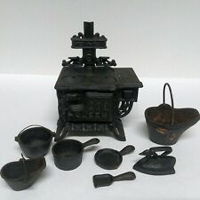 Vintage Cast Iron Queen Stove with Pots Pans Bucket Sad Iron Mini Toy 13 PCs