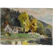 CASA di campagna tradizionale ad Acquerello Paesaggio Pittura SENZA CORNICE firmato 1923