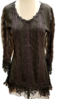 Pretty Angel Long Sheer Sleeve Tunic Lace Black Vintage Boho Women's Nwt