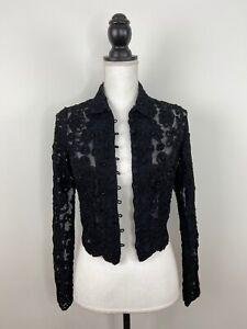 Cache Women's Cardigan Size L Cropped Lace Pearl Vintage Black - Size L