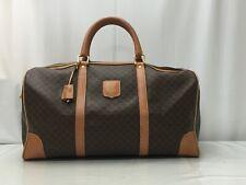 Auth CELINE Macadam PVC Canvas Travel Boston Hand Bag 9E081010k
