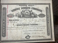 #49  Quincy Mining Company Keweenaw MI Mining Stock Certificate