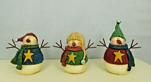 Set of three small snowmen each dressed differently - New by Honey & Me #8436