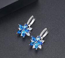 Women Men 925 Sterling Silver Crystal Hoop 3D Snowflake Earrings Gift Box PE23