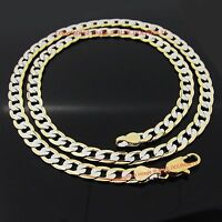 18ct Yellow White Gold GF Curb Rings Links Womens Mens Solid Long Chain Necklace