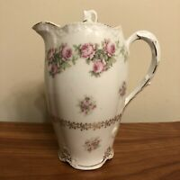 1900s Porcelain Chocolate Coffee Pot ZS & Co Scherzer Bavaria Richmond w Roses