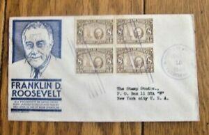 FDR FRANKLIN ROOSEVELT SCARCE 1946 BR HONDURAS BLOCK ON ANDERSON BLUE CACHET FDC