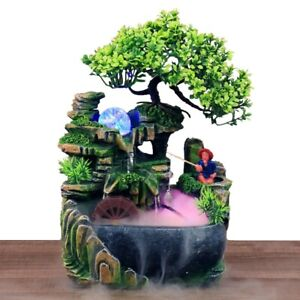 Fengshui Waterfall LED Flowing Water Fountain Desktop Ornament Home Office Decor