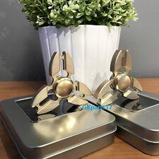 2X Gold Aluminum Tri Fidget Hand Spinner Triangle Finger Toy EDC Focus ADHD